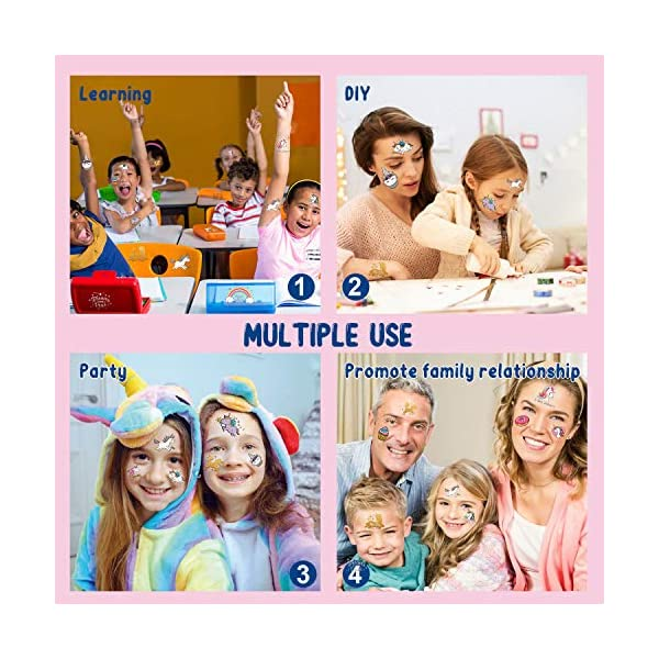 Partywind 30 Styles Metallic Glitter Temporary Tattoos for Kids,Unicorn Birthday Party Supplies Decorations for Girls… 4