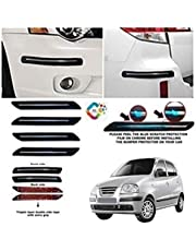 BUY HAPPYAMMY SHOP Rubber Car Bumper Protector Guard with Single Chrome Strip (Small) for Car 4Pcs - Black (for Hyundai SANTRO XING)