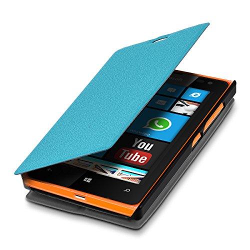 kwmobile Microsoft Lumia 532 Hülle - Flip Handy Schutzhülle - Cover Case Handyhülle für Microsoft Lumia 532 - Hellblau