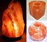 Artigianato Lampada di Sale Salgemma dell'Himalaya 4-6 kg + 2 Porta Candela con Certificato di Garanzia