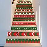 WANGMIN Escaliers Autocollants, 13 Pièce De Noël Dress Up Décalque Vert Vert Escaliers Décoratifs Sticker Mural Murales Art Déco Peintures Murales Mur Tissu 18 * 100 Cm Chambres Maison Salon Cuisine S