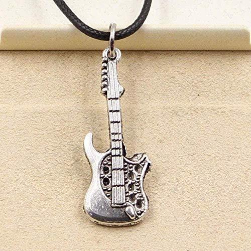 BEISUOSIBYW Co.,Ltd Collar Collar Tibetano Colgante de Color Plateado Anillo de Guitarra Torre de Cuello Cordón de Cuero Negro Joyería Hecha a Mano