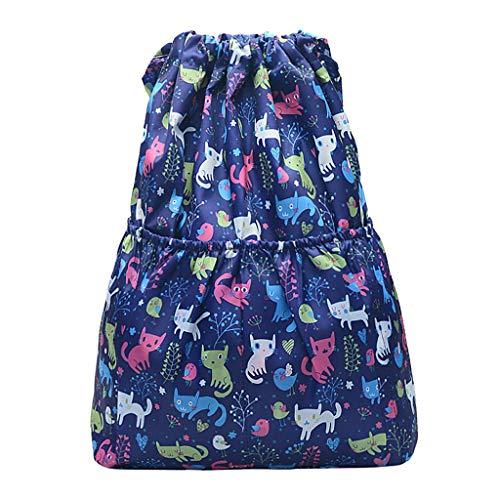 LABIUO Damen Doppelt Schulter Rucksack Lässige Bequeme Nylondruck Große Kapazität Outdoor Reisetasche(ich,Freie Größe)
