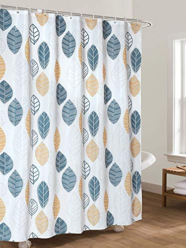 """Ufaitheart Small Size 36"""" x 72"""" Shower Curtain Fabric Bathroom Curtains Water Proof, Leaves-Turquoise, Yellow, Gray"""