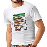 N4227 Camiseta Horario de alimentación semanal (XXX-Large Blanco Multi Color)