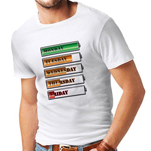 lepni.me Maglietta da Uomo Calendario settimanale di Allenamento (Small Bianco Multicolore)