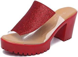 b7667bcedd GHFJDO Sandalias Transparentes para Mujer, Mulas Transparentes, Zapatos De  Tacón Alto con Tacón Alto