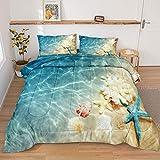 Ocean Comforter Set Beach Themed Bedding Set Teal Coastal Nature Theme Pattern Ocean Beach Comforter Queen Set for Boys Girls 1 Comforter 2 Pillowcases (Ocean, Queen)