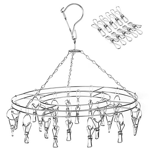 Amagoing Hanging Drying Rack Laundry Drip Hanger with 20 Clips and 10 Replacement for Drying Socks Baby Clothes Bras Towel Underwear Hat Scarf Pants Gloves