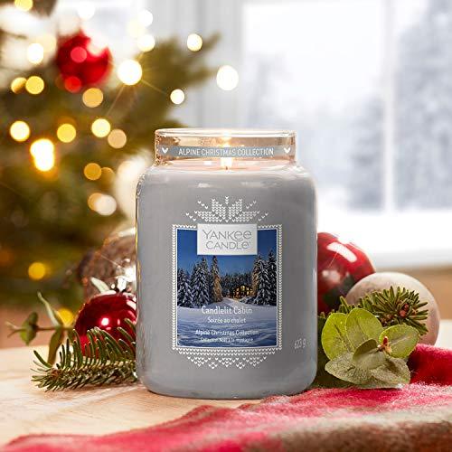 Yankee Candle Candela profumata in giara grande, In baita a lume di candela, collezione Natale in montagna, durata: fino a 150 ore