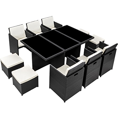 TecTake Poly Rattan Aluminium Gartengarnitur Sitzgruppe 6+1+4, Edelstahlschrauben - Diverse Farben - (Schwarz | Nr. 401454) - 6