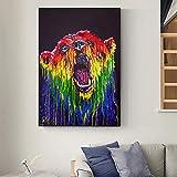 Impresión de lienzo arte de pared colorido oso lienzo pintura carteles nórdicos e impresiones animales cuadros de pared para decoración de sala de estar 60x80cm sin marco