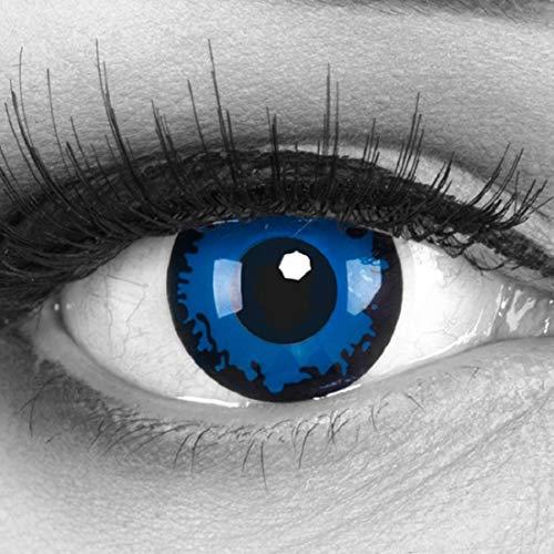 Funnylens 1 Paar farbige blaue dunkelblaue Crazy Fun Dark Blue Jahres Kontaktlinsen perfekt zu Halloween, Karneval, Fasching oder Fasnacht mit gratis Kontaktlinsenbehälter ohne Stärke!