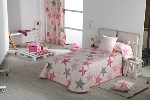 Mercato-House - Colcha Bouti Infantil Estrellas/Colcha Cama 90/Relleno 100% poliéster de 100gr, Color Rosa, 180x260cm