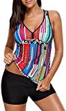 Tempt Me Women Two Pieces Padded Striped Swimsuit Vintage Tankini Top with Boyshorts Swimming Costume, Multicoloured, 16-18