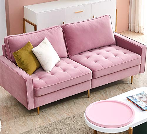 Danxee Velvet Fabric Sofa Couch 71' Wide Mid Century Modern Tufted Fabric Sofa Living Room Sofa 700lb Heavy Duty with 2 Pillows (Pink)