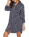 BESDEL Frauennachthemd 3/4 Ärmel Nachtwäsche Baumwollpyjamas Nachthemd Schlafkleid Marineblau M
