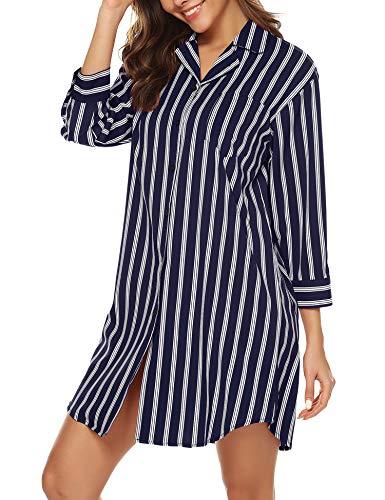 BESDEL Frauen 3/4 Ärmel Pyjama Top Button Down Reverskragen Schlaf Hemd Kleid Marineblau S