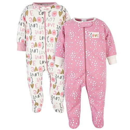Gerber Baby Girls' 2-Pack Organic Sleep 'N Play, Love Pink Pink, 6-9 Months