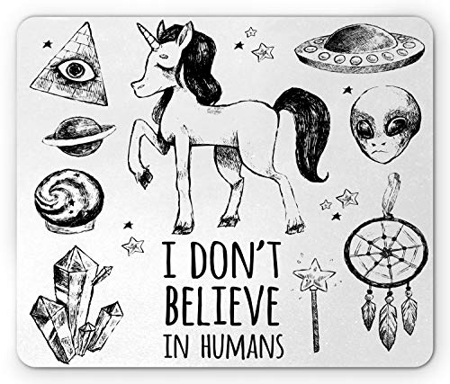 Ambesonne Unicorn Mouse Pad, Mysticism Occult Featured Set with Pyramids Aliens Dream-Catcher Grunge Print Artwork, Rectangle Non-Slip Rubber Mousepad, Standard Size, Black