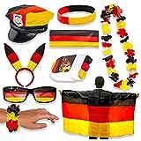 Murago - Deutschland Fan-Set 9 Teilig - für Frauen Fanartikel WM EM Fahne Aloha Kette Fanhut Schminke Stirnband Armband