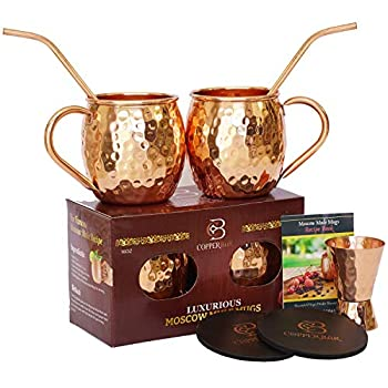 Moscow Mule Copper Mugs - Set of 2 - 100% HANDCRAFTED Pure Solid Copper Mugs - 16 oz Gift Set with Highest Quality Cocktail Copper Straws Jigger & 2 Coasters by Copper-Bar