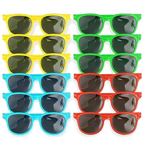 12 Pack Gafas de Sol de Plástico para Niños - 4 Colores Brillantes Cumpleaños, Favores Regalos de Fiesta| Aire Libre, Verano, Playa o Piscina.