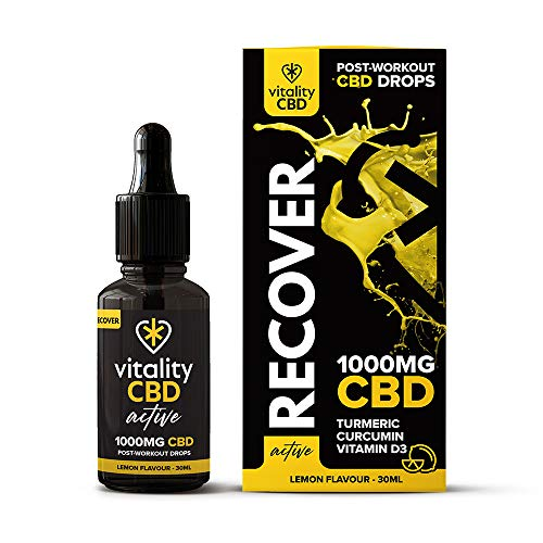 Vitality CBD Lemon Flavour Active Recover Drops, 1000mg, 30ml