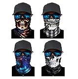 ATIMIGO 4 Pack Multifunctional Headwear Face Mask Headband Neck Gaiter Bandanas for Outdoors, Festivals, Sports