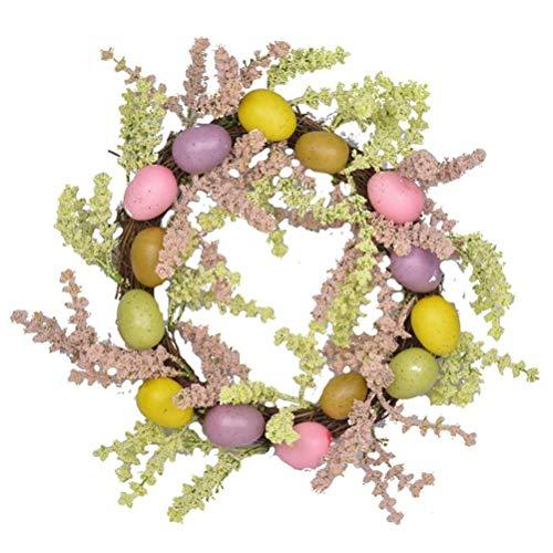 Wopohy Corona de Pascua con huevos coloridos, corona de bienvenida de Pascua con flores artificiales decorativas para puerta delantera, decoración de Pascua