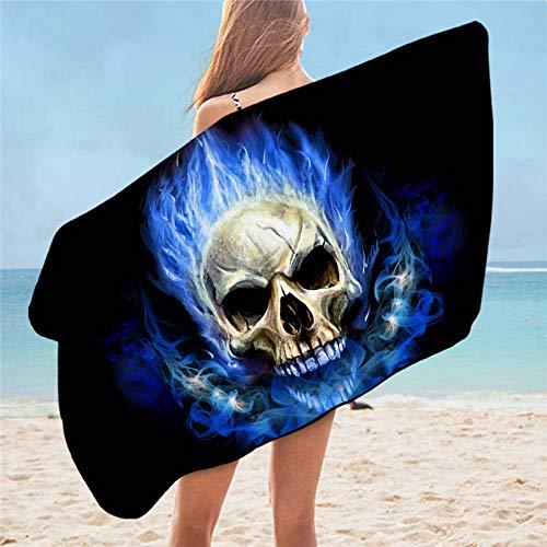 Toalla De Playa,Inicio Suave Microfibra Portátil Absorbente Llama Azul Calavera Baño Imprimir Toalla De Playa Baño 3D Toalla De Playa Gótica Para Adultos Nadar Spa Viajes Yoga Deportes Acampar To