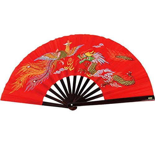 000e1b173 Bamboo Kung Fu Fighting Fan Dragon And Phoenix (red)