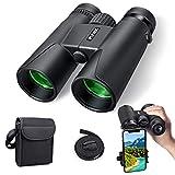 Prismáticos compactos 10 x 42, profesional, HD resistente al agua, Binoculars, para observación de aves, senderismo, caza, turismo, lente FMC, bolsa de transporte y adaptador para smartphone