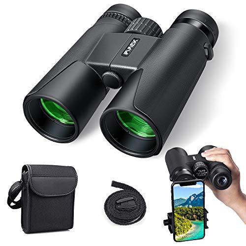 Prismáticos compactos 10 x 42, resistentes al agua, ampliaciones de alto rendimiento, prismáticos con adaptador de smartphone para observación de aves, senderismo, deportes al aire libre, mundo animal