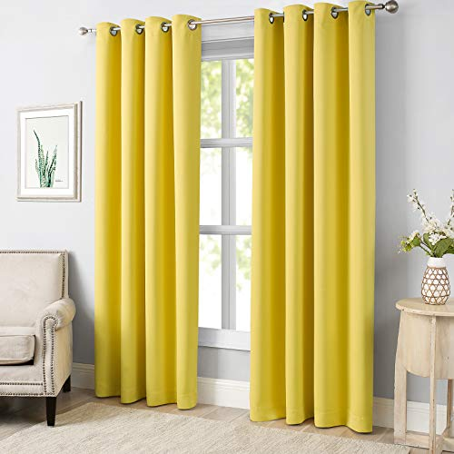 MODERNOVIA Autumn Yellow 52x84 Inch Blackout Curtain Grommet Solid Drape for Living Room and Bedroom Thermal Insulated 2 Panels