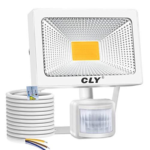 CLY 30W LED Strahler mit Bewegungsmelder,LED Scheinwerfer 3000K Warmweiß 3000LM IP66 Wasserdicht, Außenstrahler Superhelle, LED Fluter Sensorleuchten für Garten, Hinterhof, Garage, Türen