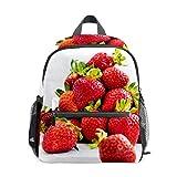 Mochila escolar para niños y niñas, bolsa de viaje para estudiantes, bolsa de viaje, casual, para regalo de fresas, color blanco