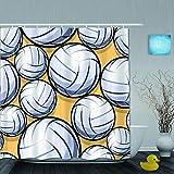 VICAFUCI Duschvorhang 180 * 180,Volleyballball Grafik nahtloses Muster,Wasserabweisend Shower Curtain mit 12 Duschvorhangringen