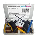 amiciKart Complete Tubeless Tyre Puncture Repair Kit with Box (Nose Pliers, Cutter and Strips)