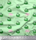 Soimoi Grün Samt Stoff Lotus & Frosch Kinder Stoff
