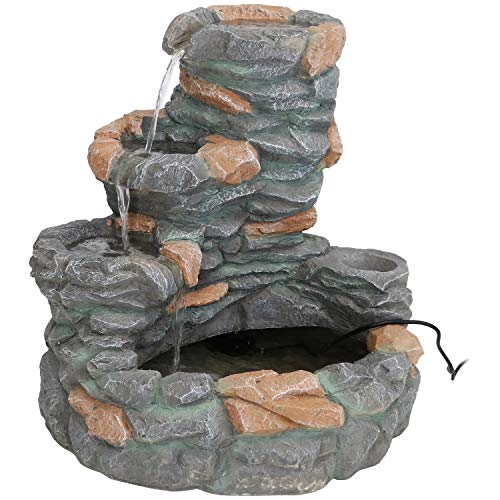 Sunnydaze 4-Tiered Outdoor Ledgestone Waterfall Fountain - Traditonal Style Backyard, Patio, Lawn and Garden Water Feature - 29-Inch