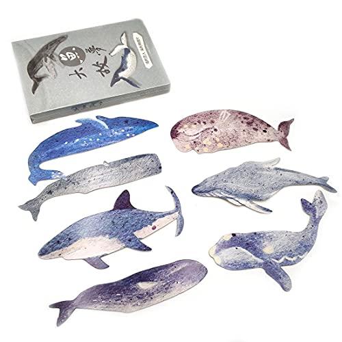 Marcapáginas de 30 hojas, diseño de ballena, para niños, mujeres, estudiantes, papeles, lectura, incentivos para la escuela, premios, tarjeta de notificación, bendición