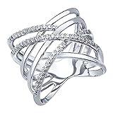 SOKOLOV Jewelry Ring Silber mit Steinen I extravaganter Verlobungsring 925 Silber in Wickel-Optik I 1,6 cm breiter Ring Damen Silber I Designer Markenschmuck - Cubic Zirkonia Silberring (18)