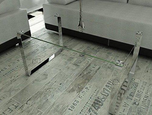 Endo Couchtisch Elia Glas Wohnzimmertisch Tisch 100x60cm Kufentisch Glastisch Chrom