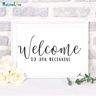 wasticly Welcome to Our Beginning Wedding Sticker Reception Sign Quotes Board Decal Party Decor 24x57cm