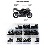 Xitomer for CBR1000RR Complete Fairing Bolt Kits, Fit for Honda CBR1000RR 2004 2005, Mounting Kits Windscreen Bolts,Clips/Grommets/Nuts/Fastenings (Black)