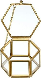 Hipiwe Vintage Glass Jewelry Box - Golden Hexagonal Jewelry Display Organizer Keepsake Box Home Decorative Box Case for St...