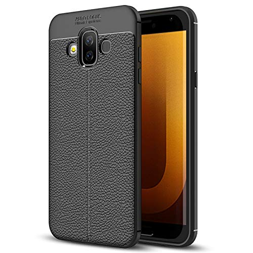 GBHGBH ES Estuche de TPU de Textura de Litchi para Compatible con Galaxy J7 Duo (Color : Black)