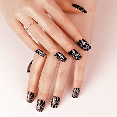 ArtPlus Faux Ongles 24pcs x 4 (4-Pack) Halloween Gothic Black Silver Spider Web with Crystals False Nails with Glue Full Cover Long Length 4 Boxes in 1 Premium Pack Buy 3 Get 1 Free Fake Nails Art