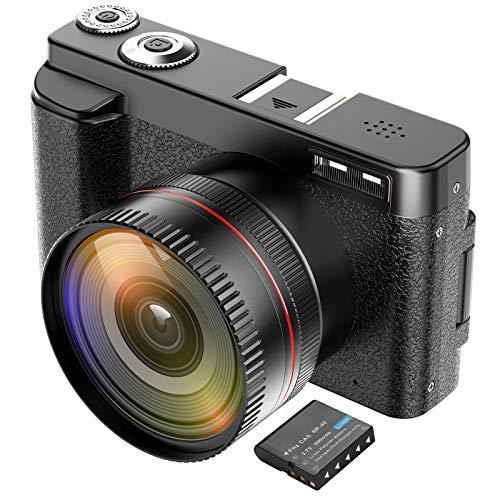 CamVeo Videocamera, Videocamera per Vlogging con UHD 44 Mega Pixel e Potente Zoom 16X, Videocamere con Lampada Flash e Schermo LCD da 2,88 Pollici, 1 Batteria